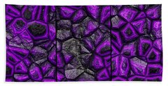 Abstract Deep Purple Stone Triptych Beach Towel
