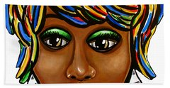 Abstract Art Black Woman Retro Pop Art Painting- Ai P. Nilson Beach Towel