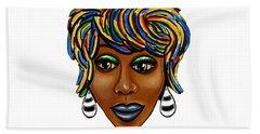 Abstract Art Black Woman Retro Pop Art Painting- Ai P. Nilson Beach Towel