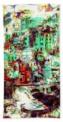 Abstract Riomaggiore Cinque Terre Art Beach Towel