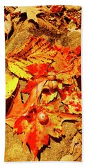 Acorns Fall Maple Oak Leaves Beach Towel