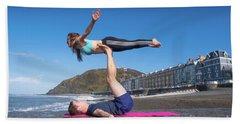 Acroyoga On Aberystwyth Beach Beach Towel