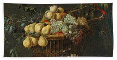 Adriaen Van Utrecht Antwerp 1599-1653 Still Life Of A Basket Of Fruit With A Parrot Beach Towel
