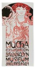 Advertising Poster By Alphonse Mucha Mucha Exhibition, Brooklyn Museum, 1921 Beach Towel