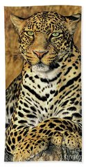 Beach Towel featuring the photograph African Leopard Portrait Wildlife Rescue by Dave Welling