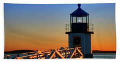 After Sunset At Marshall Point Lighthouse  Beach Towel