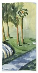 Beach Towel featuring the painting Afternoon In The Park by Maria Langgle