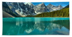 Afternoon Rocky Reflections At Moraine Lake Beach Towel