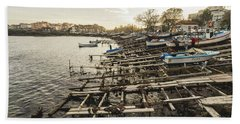 Beach Towel featuring the photograph Ahtopol Fishing Town by Milan Ljubisavljevic