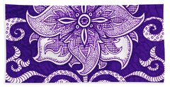 Beach Towel featuring the painting Alien Bloom 11 by Amy E Fraser