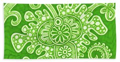 Beach Towel featuring the painting Alien Bloom 24 by Amy E Fraser
