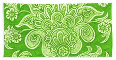 Beach Towel featuring the painting Alien Bloom 4 by Amy E Fraser