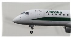 Alitalia Embraer 190 And Bird  Beach Towel