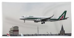 Alitalia Embraer 190 Bird Near Miss Beach Towel