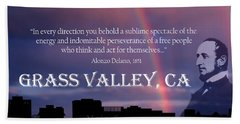 Alonzo Delano Grass Valley Quote Beach Towel