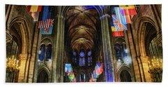 Amazing Interior Cathedrale Notre Dame De Paris France Before Fire Beach Towel