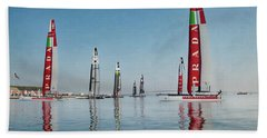 America Cup Boat Reflections Beach Towel