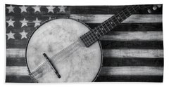 American Banjo Black And White Beach Towel