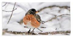 American Robin In The Snow Beach Towel