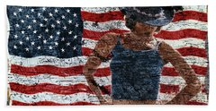 Beach Towel featuring the photograph American Woman Composite by John Rodrigues