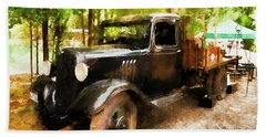 Antique Black Truck Beach Towel