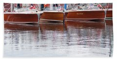 Antique Classic Wooden Boats In A Row Panorama 81112p Beach Sheet