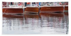 Antique Classic Wooden Boats In A Row Panorama 81112p Beach Towel