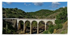 Antique Mertola's Bridge In Alentejo Beach Sheet