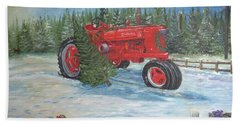 Antique Tractor At The Christmas Tree Farm Beach Sheet