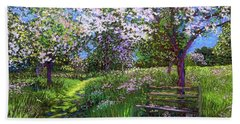 Apple Blossom Trees Beach Towel