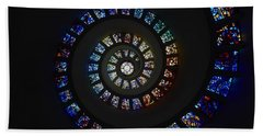 Architect Philip Johnson S Stained Glass  Glory Window  Chapel Of Thanksgiving,   In Dallas, Texas.  Beach Towel