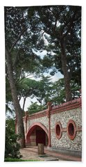 Architecture At The Gardens Of Cecilio Rodriguez In Retiro Park - Madrid, Spain Beach Sheet