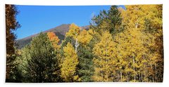 Arizona Aspens With Mountains Beach Sheet