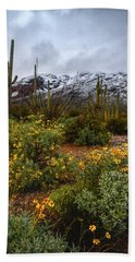 Arizona Flowers And Snow Beach Towel