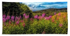 Art Photo Of Vermont Rolling Hills With Pink Flowers In The Fore Beach Towel