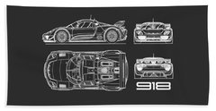 The 918 Spyder Blueprint - Black Beach Towel