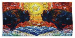 Bison Running Print Of Olena Art Wild The Storm Oil Painting With Palette Knife  Beach Towel