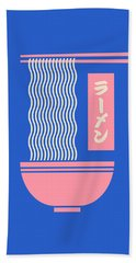 Ramen Japanese Food Noodle Bowl Chopsticks - Blue Beach Towel