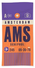 Retro Airline Luggage Tag - Ams Amsterdam Schiphol Beach Towel