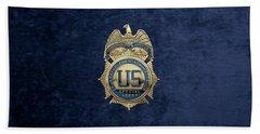 Drug Enforcement Administration -  D E A  Special Agent Badge Over Blue Velvet Beach Towel