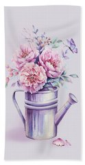 Beach Towel featuring the painting Pink Peonies Blooming Watercolour by Georgeta Blanaru