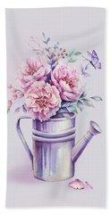 Beach Sheet featuring the painting Pink Peonies Blooming Watercolour by Georgeta Blanaru