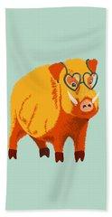 Cute Boar Pig With Glasses  Beach Towel