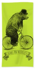 Bears On Bicycles - Lime Beach Towel