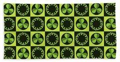 Green Shamrocks Circles And Squares Beach Sheet
