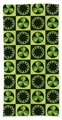 Beach Towel featuring the digital art Green Shamrocks Circles And Squares by MM Anderson