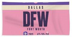 Retro Airline Luggage Tag - Dfw Dallas Fort Worth United States Beach Towel