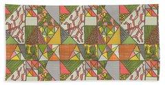 Geometric Flowering Cacti Beach Towel