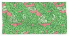 Banana Leaf Pattern Pink Beach Towel