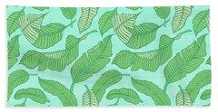 Banana Leaf Pattern Blue Beach Towel